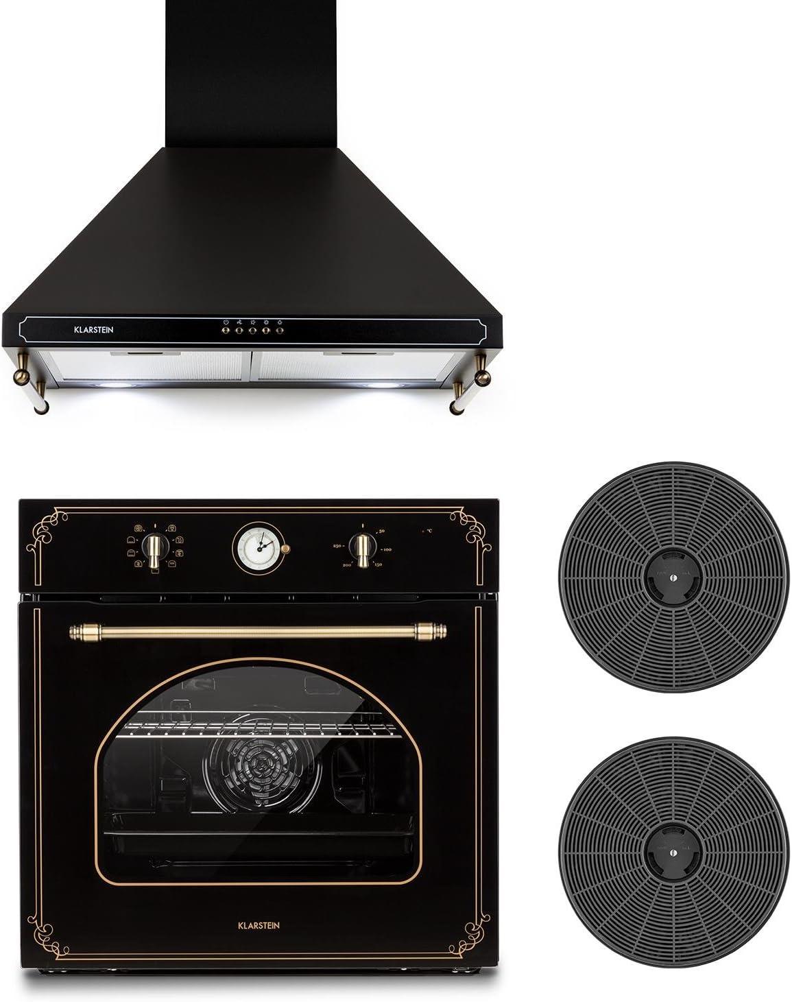 Klarstein Victoria Set - Horno eléctrico, Horno de cocina, Campana extractora, 600 m³/h, 50-250 °C, 70 litros, 2 filtros de carbón activo, Negro: Amazon.es: Hogar
