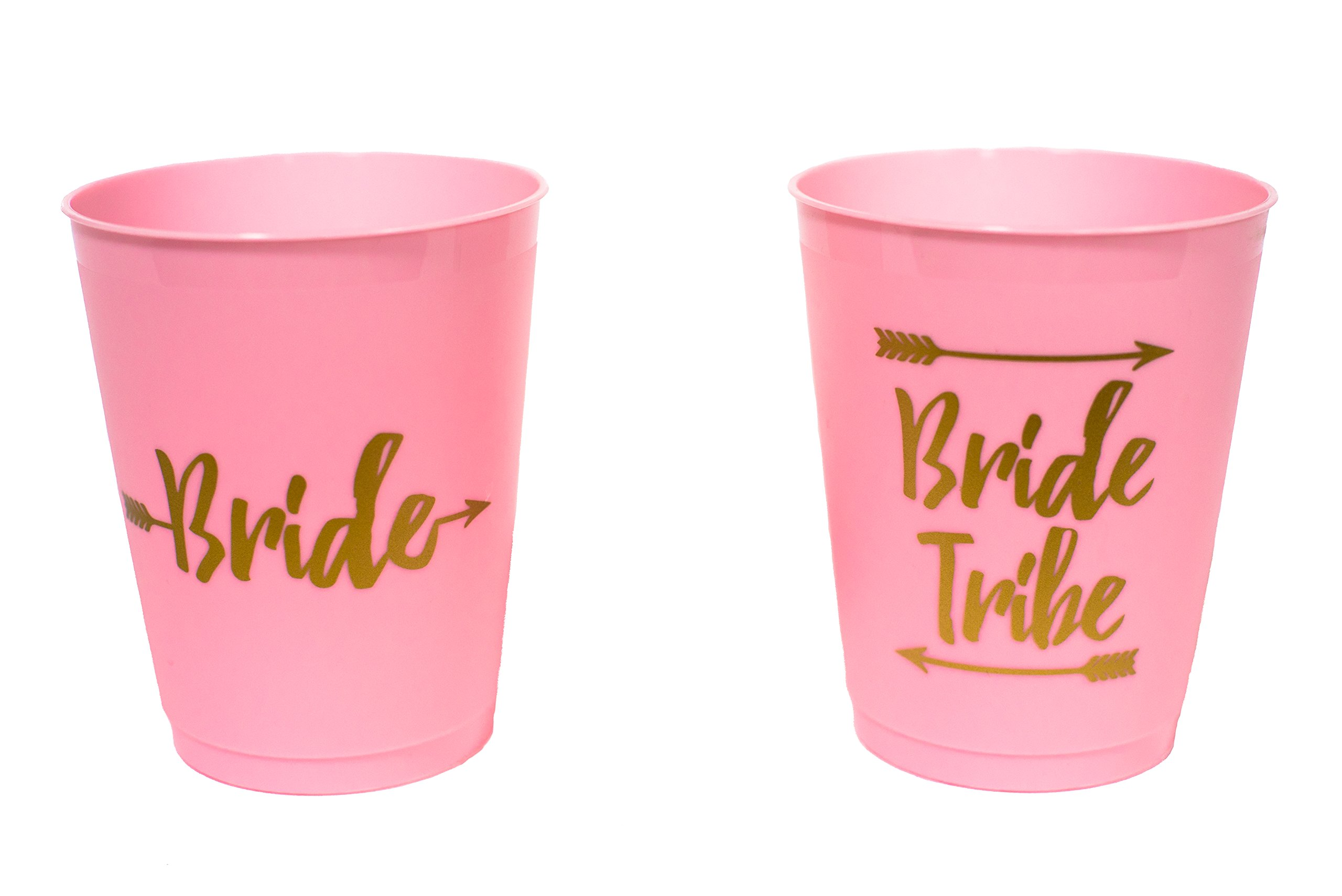 14 Bride and Bride Tribe Bachelorette Party Cups, Bridal Shower Cups for Bachelorette Party, Bridal Shower - Pink and Gold, 16 Ounces