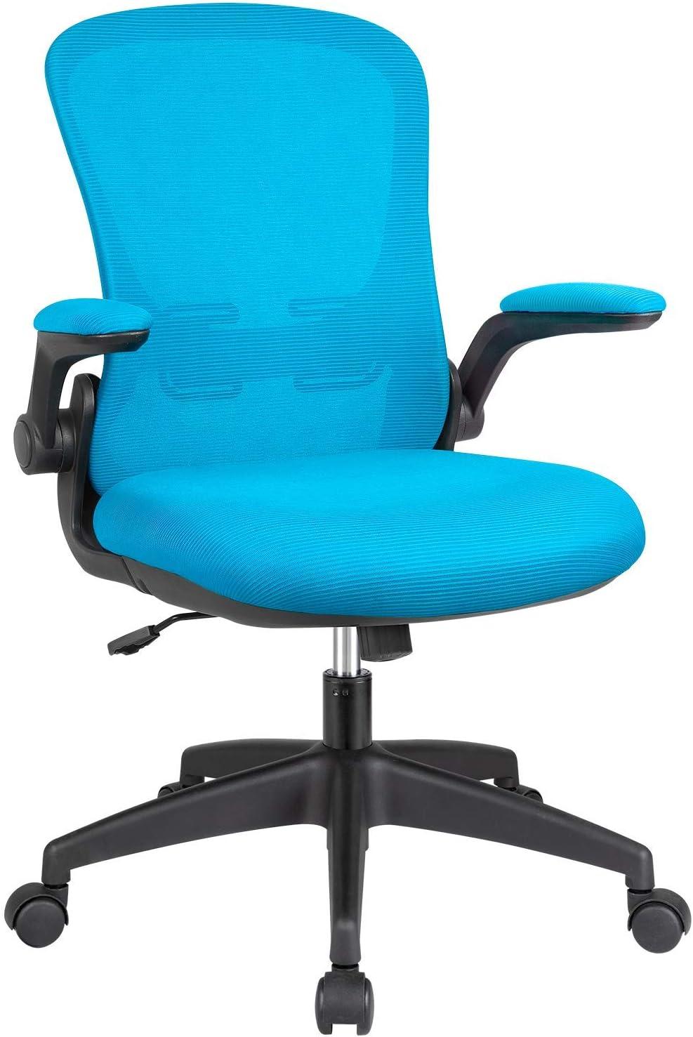 KaiMeng Office Computer Chair Ergonomic Desk Chair Mesh Task Chair Flip-up Arms Modern Executive Lumbar Support, Adjustable High Back Swivel Chair (Blue)