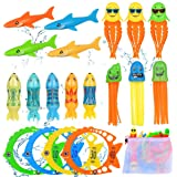 Pool Toys for Kids Diving Torpedo Toy Water Shark Fish Ring Stringy Octopus Water Game Diving & Swimming Training Underwater