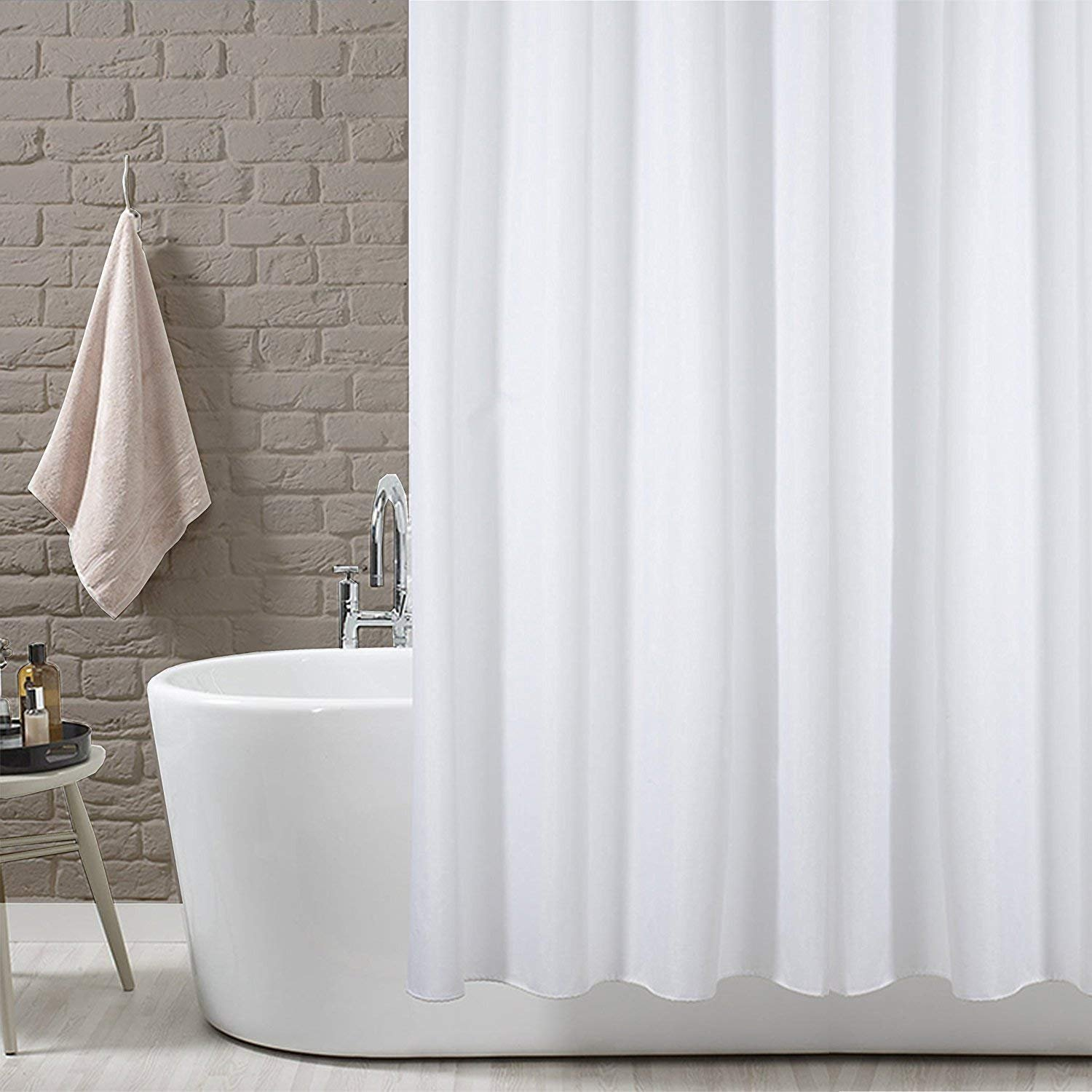 YOLOPLUS Shower Curtain Polyester Fabric Extra Long Mildew Resistant Waterproof/Water-Repellent Antibacterial For Bathroom Hotel 72x78  Inch- White