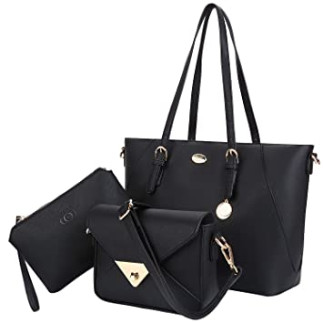 große Vielfalt Modelle 2020 Wählen Sie für offizielle Damen Handtaschen, Coofit Handtasche Leder Tasche Set mit Crossbody Tasche  Umhängetasche Damen Henkeltaschen Handgelenktasche (Coofit Schwarz)