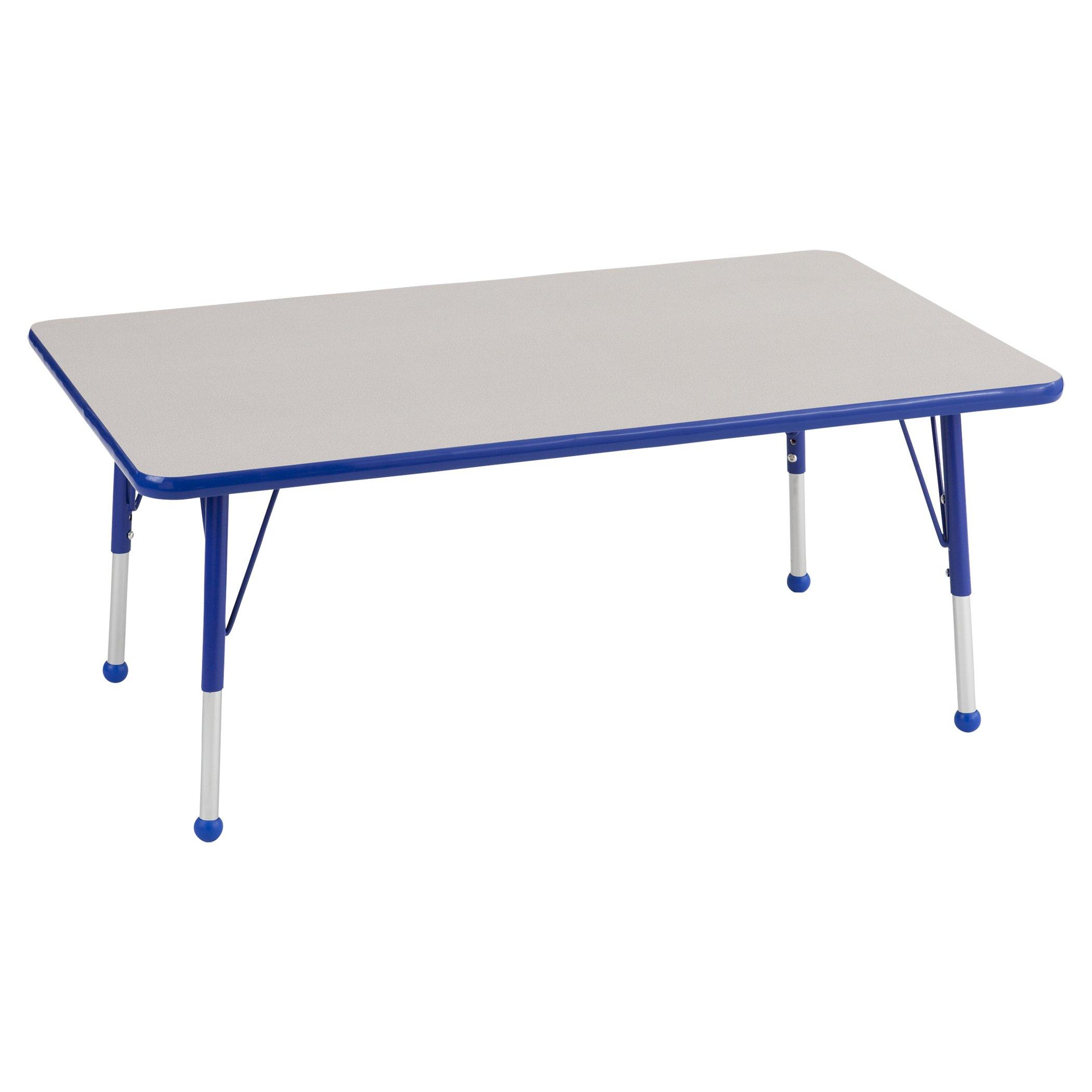 ECR4Kids 24'' x 48'' Rectangular Activity School Table, Toddler Legs w/Ball Glides, Adjustable Height 15-23 inch (Grey/Blue)