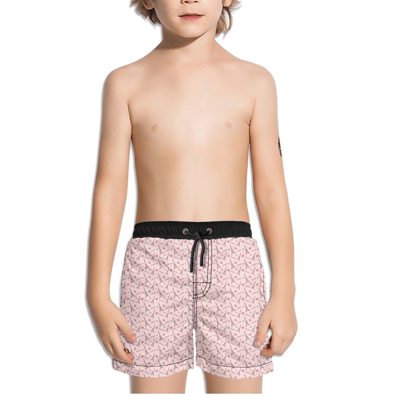 Trum Namii Boy's Quick Dry Swim Trunks Paris Eiffel Tower Heart Shorts
