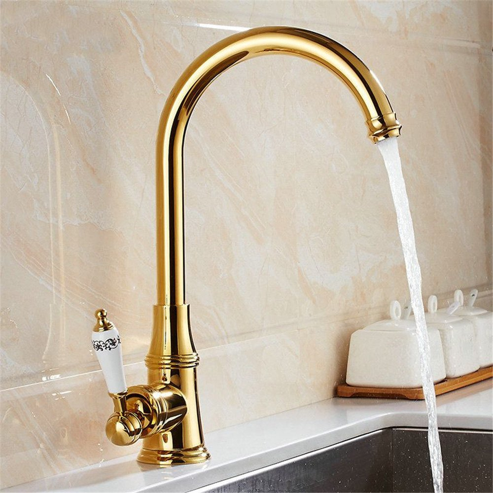 Commercial Bathroom Sink Taps SADASD Contemporary Bathroom Full Copper Basin Faucet Gold Low Basin Sink Mixer Tap Ceramic Spool Single Hole Single Handle Cold Water With G1/2 Hose