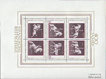 Prophila Collection Austria Blocco 2 Cavalli 1972 400 Anni Spagnolo Equitazione Francobolli per i Collezionisti Completa Edizione