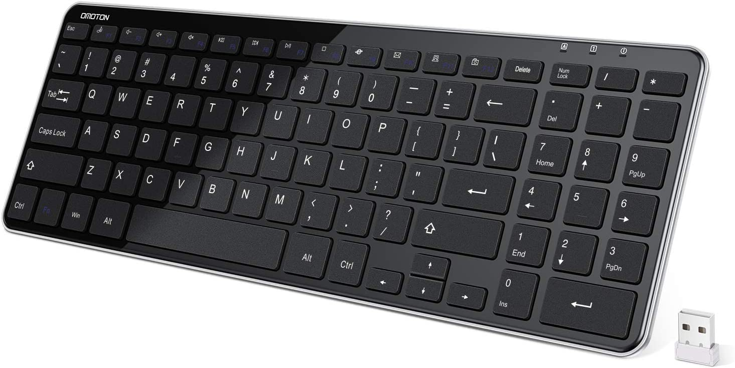 OMOTON 2.4G Wireless Keyboard Ultra Slim Keyboard with USB Receiver for Computer/Desktop/PC/Laptop/Surface/Smart TV and Windows 10/8/7, Black