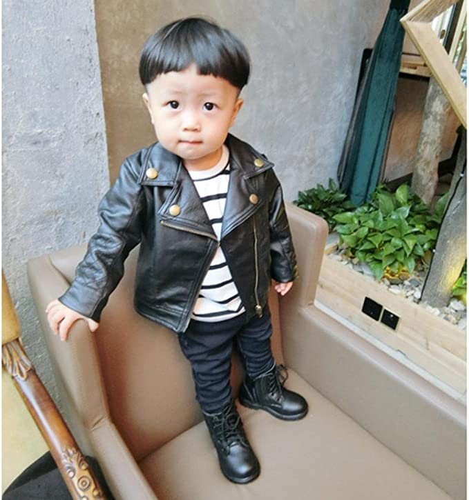 Gprince Girl Boy Clothes PU Leather Jacket Punk Rock Clothes Children Outwear