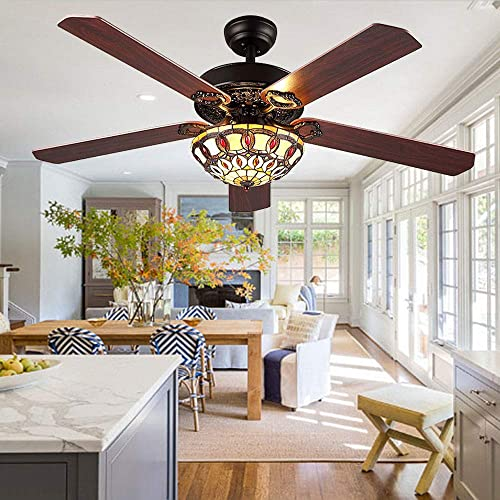 AndersonLight Antique Ceiling Fan With Tiffany Light, Remote Control Decorative Fancy Tiffany Electrical Ceiling Fan Light, Black Finish, 52 Inches