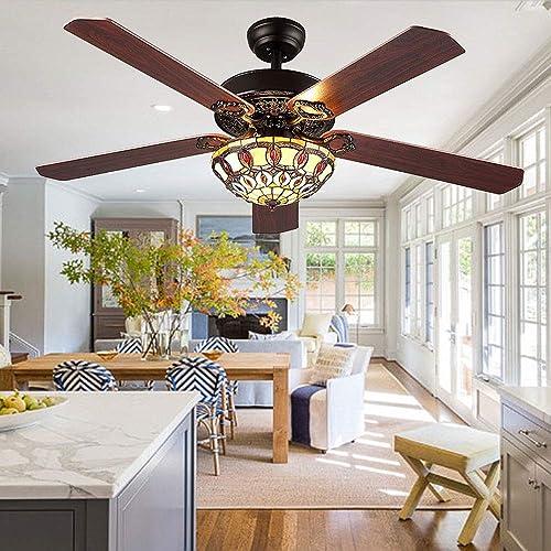 Modern Ceiling Fan 5 Wood Blades With Tiffany Glass Shade, Quiet Handmade Fan Chandelier, Remote Control, Black Finish, 52-Inch