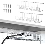 2 Packs Cable Management Tray, 16 inches Under Desk Cable Organizer for Wire Management, Metal Wire Cable Tray for Desks…