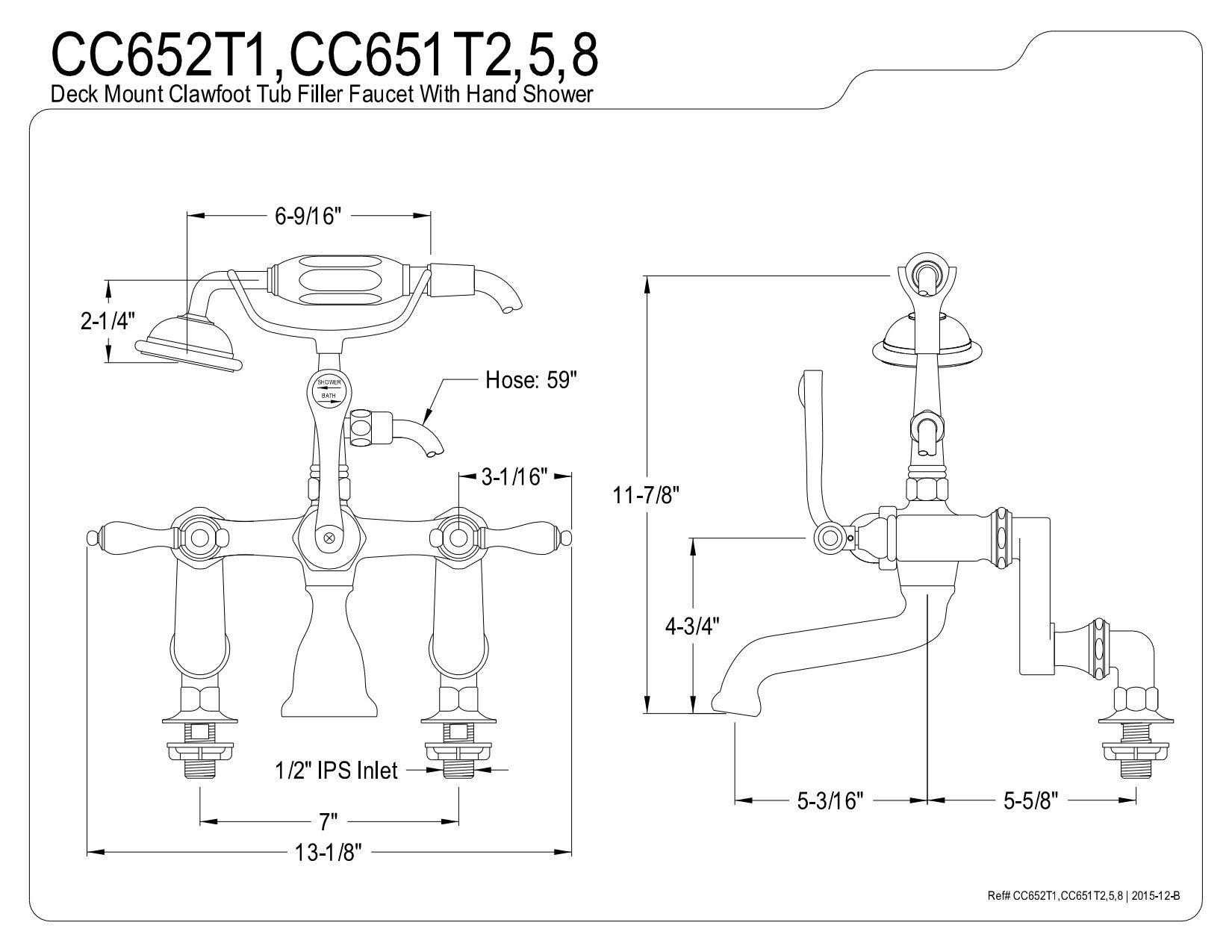 Kingston Brass CC651T2 Vintage 4-Inch to 13-Inch Adjustable Center Deck Mount Leg Tub Filler with Hand Shower, Polished Brass