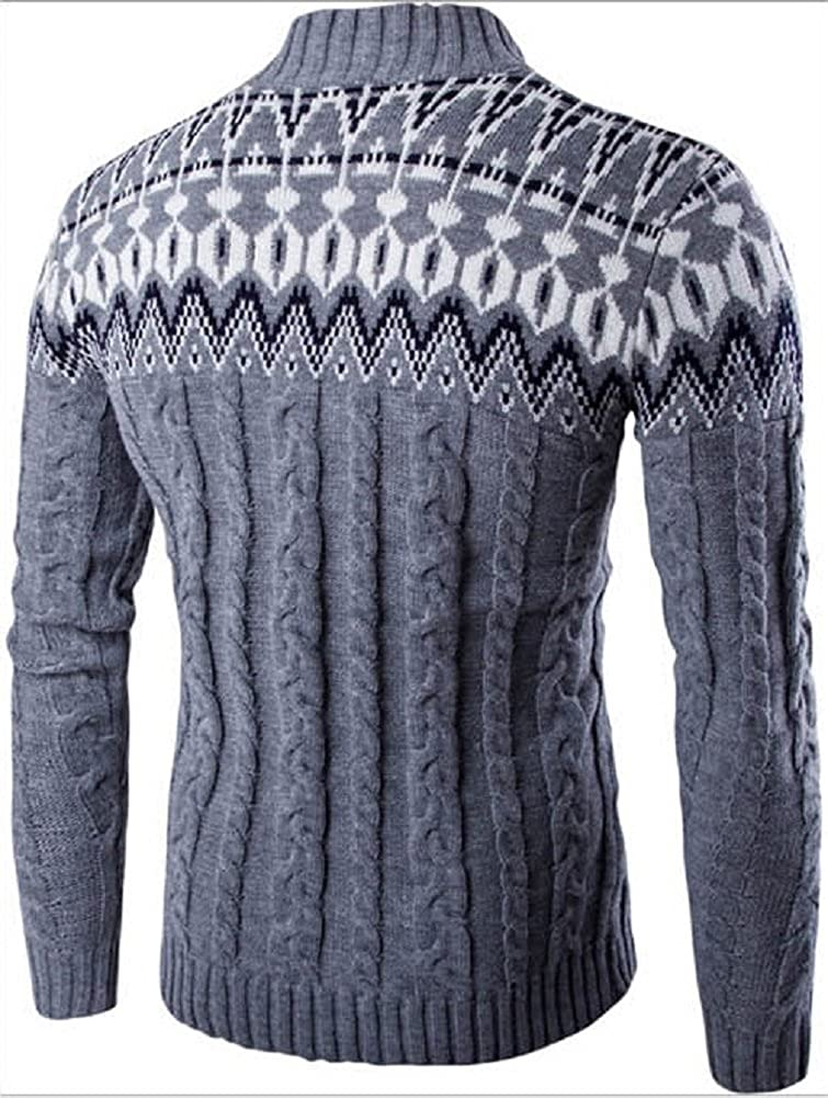 Kalanman Mens Classic Mock Neck Long Sleeve Cable Knit Sweater Pullover