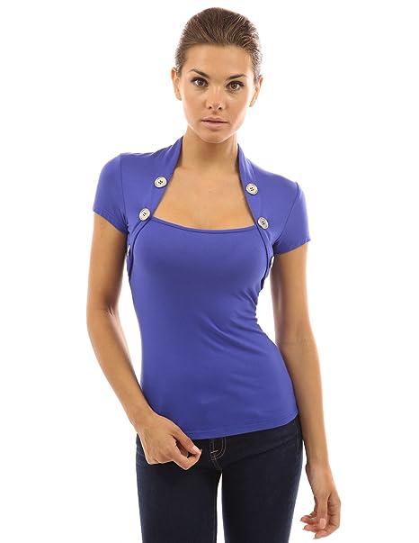 PattyBoutik Mujer estilo bolero adornado con botones de la blusa (azul 36)