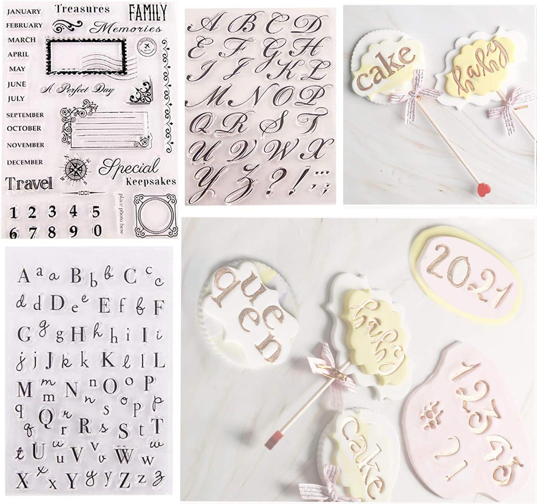 (4 Pcs) Alphabet & Numbers Cake Stamp Tool, Food-Grade Alphabet Biscuit Fondant Reusable Cake/Cookie Stamp Mold Set DIY Handmade for Halloween Christmas Party