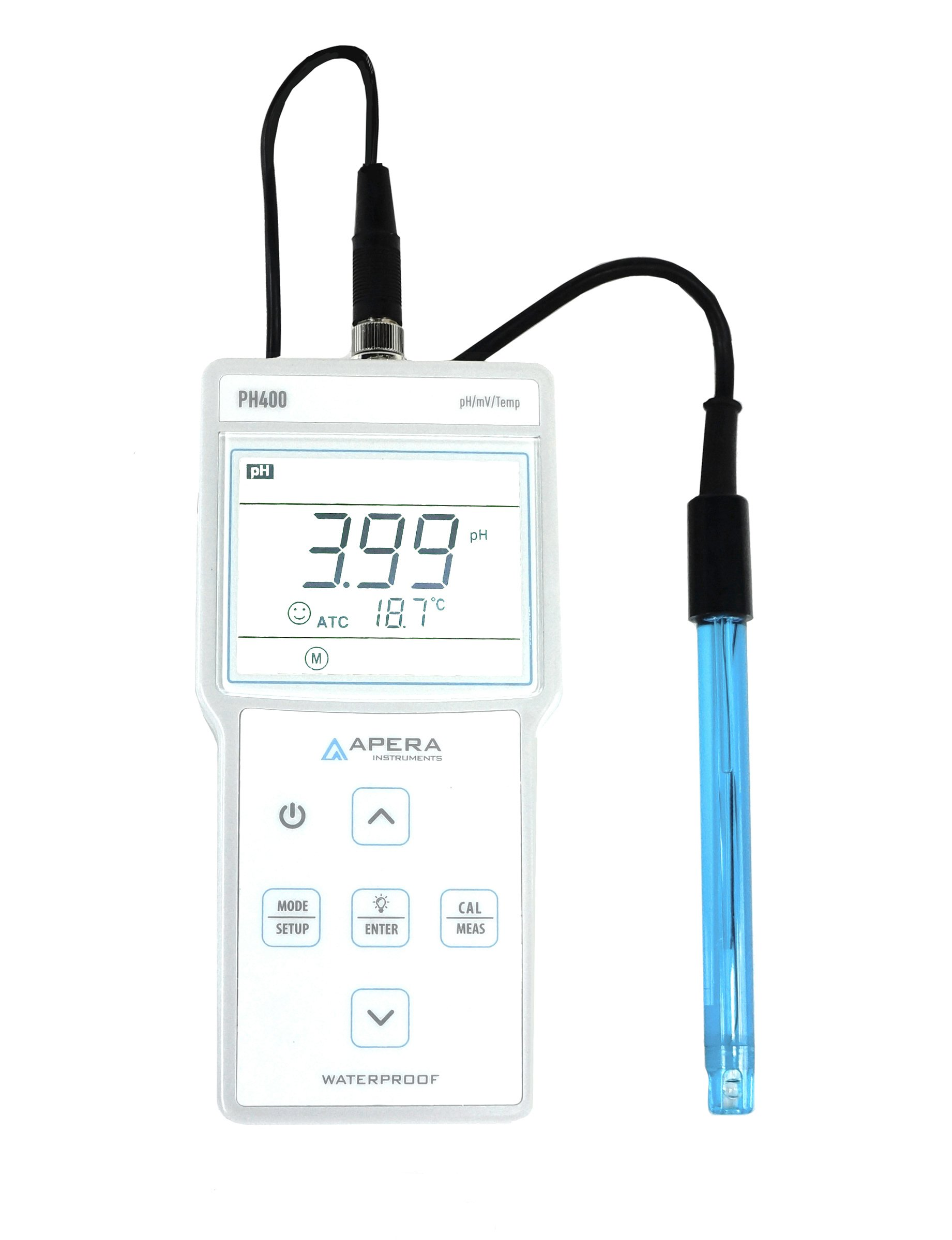 PH400 Portable pH Meter Kit, 0.01 pH Accuracy, 0-14.00 pH Measuring Range, 3ft Probe, 3-Point Auto Calibration, pre-mixed buffers included by Apera Instruments, LLC