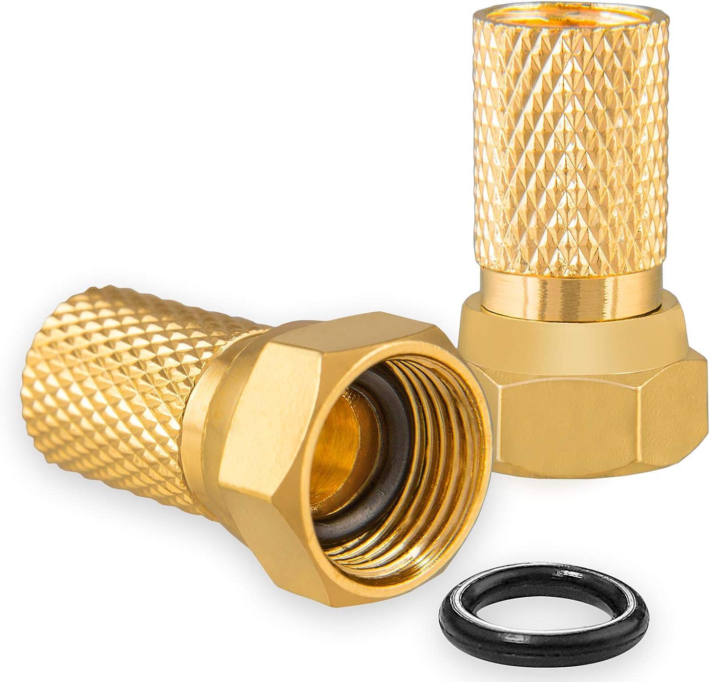 HB-DIGITAL 2 conectores F de 7,2 mm con junta de goma dorada, para cable coaxial de antena satélite y acoplamiento BK, macizo, HQ 4K UHD