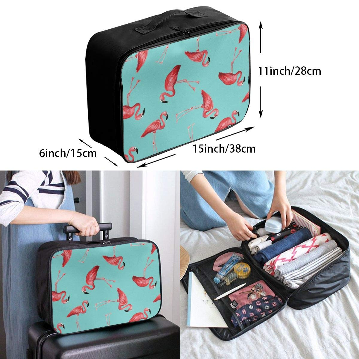 Travel Duffel Bag Waterproof Fashion Lightweight Large Capacity Portable Luggage Bag Flamingos In Blue