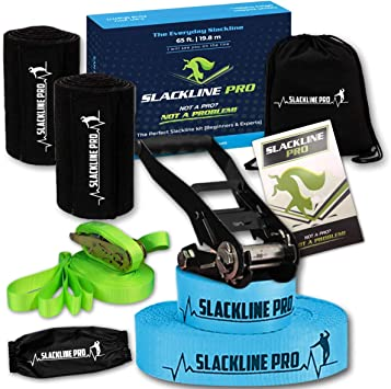 Slackline Kit PRO Training Line 65-Foot Complete Premium Set with Tree Protectors, Arm Trainer, Carry Bag and Easy Set up Instructions for The Family, ...