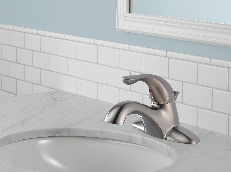 Stainless Delta Faucet Delta 520-SSPPU-DST Classic Single Handle Centerset Bathroom Faucet