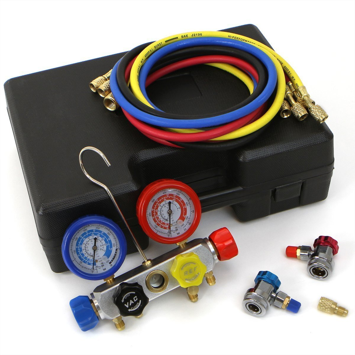 Goetland Copper 4 Way Diagnostic Manifold Gauge Kit Charging Hoses Coupler Adapters for AC Refrigerant R410a R22 R134a HVAC