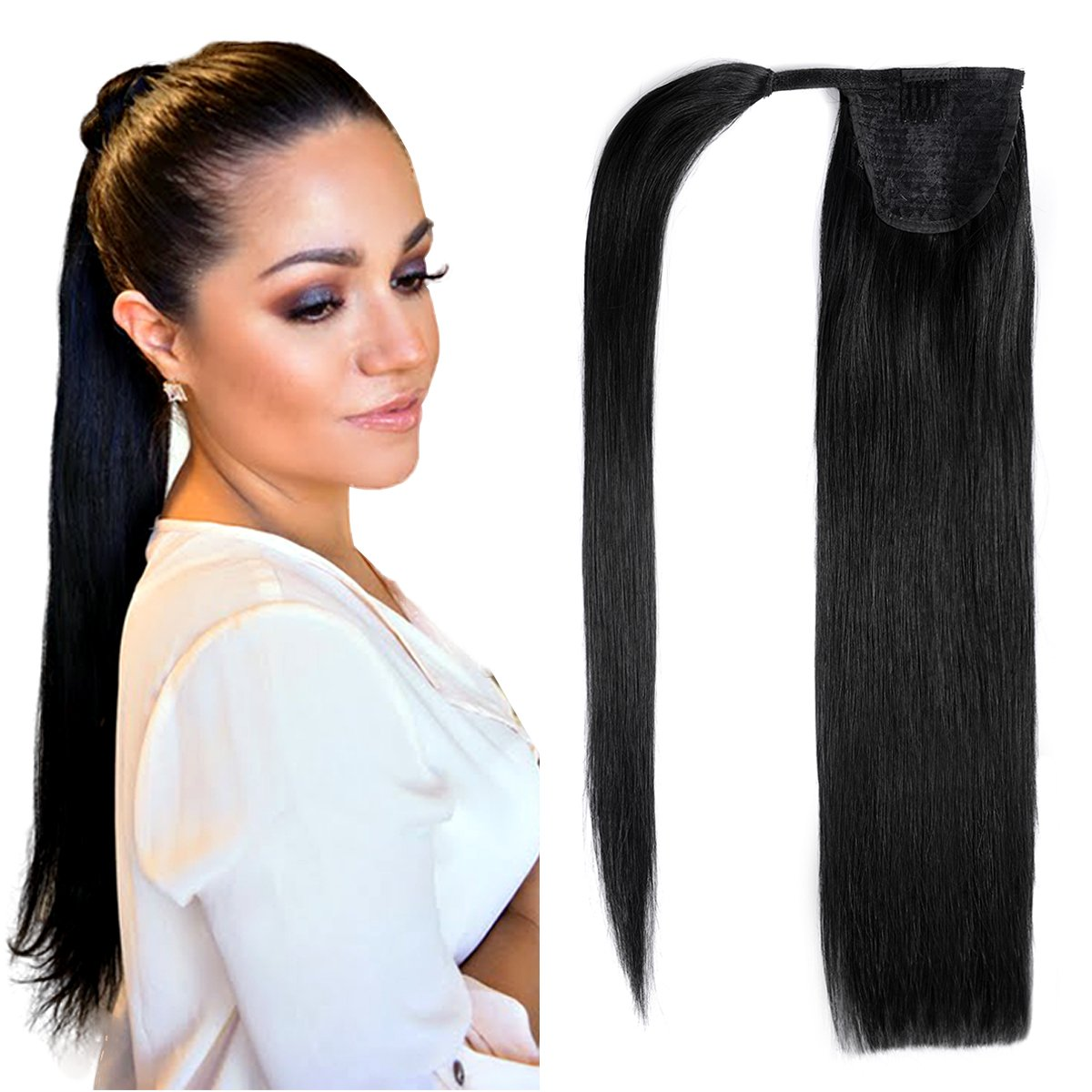 20human Hair Ponytail Extensions Wrap Around Ponytails Clip In