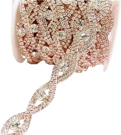 Sparkle Crystal Beads Embellishment Glitterly Applique Bridal Sash Trim