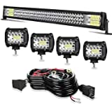 LED Light Bar TURBO SII 32 Inch 441W Triple Row Flood Spot Combo Beam Light Bar 4Pcs 4 Inch 60W LED Cubes Lights with 3-Leads