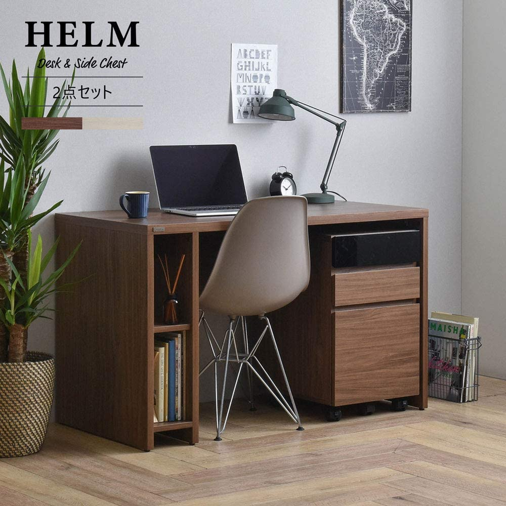 佐藤産業 HELM(ヘルム) デスク(120cm幅)サイドチェスト(引出し)セット (オークナチュラル) HM120-73DS-HM65-40H-IV