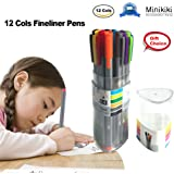 Minikiki Fineliner Color Pens, 12 Colors Journal Pens Set, 0.4mm Sketch Colored Writing Drawing Note Taking Ink Fineliner Pens, Fine Tips Art Markers for School Office Home, for Students, Artists