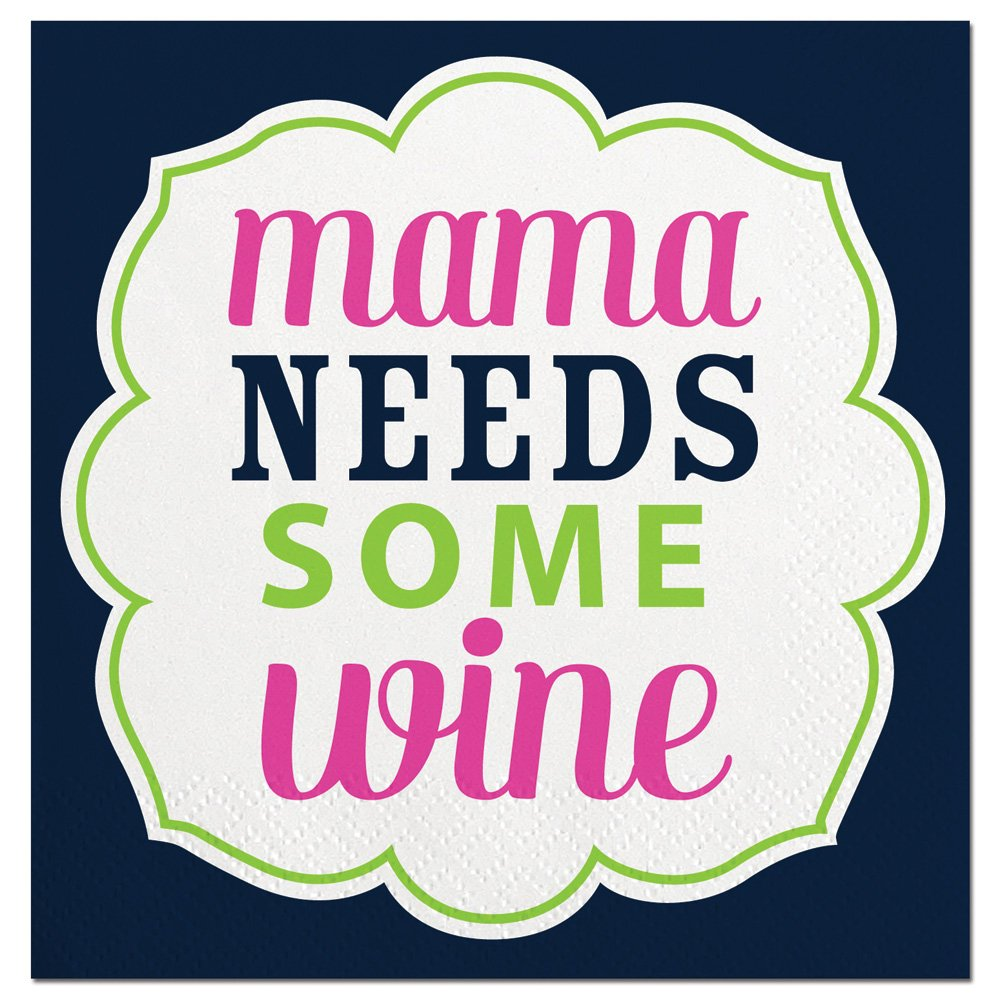 mama NEEDS SOME wine Slant Cocktail Napkins