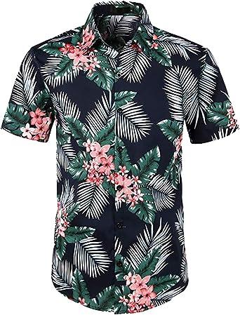 BingSai Camisa Informal de Manga Corta con Botones para Hombre, Playera Aloha Hawaiana 2 38: Amazon.es: Ropa y accesorios