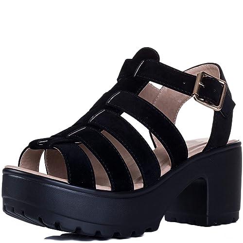 d06e8a6045e76 Amazon.com: Spylovebuy Jamon Women's Adjustable Buckle Mid Heel ...