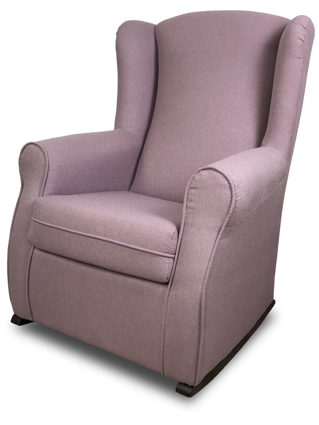 SuenosZzz-House Accent Rocking Chair. Perfect nursing chair. Upholstery fabric. Lilac. Measurements: 102 x 76 x 74. Wood legs.