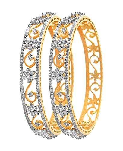 ba90b3ebe0f DC MN AD White Stone Gold Plated Bangles in Flowers(2.10): Amazon.in:  Jewellery