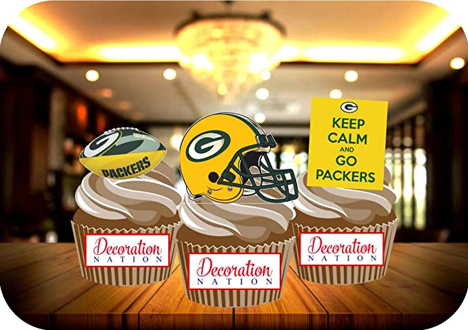 Wondrous 12 X Green Bay Packers Birthday Edible Cake Toppers Decorations Personalised Birthday Cards Veneteletsinfo