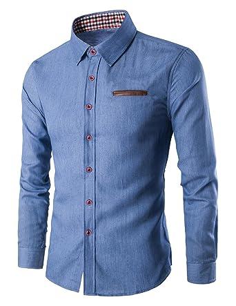 e0d348d9956 YCHENG Homme Jean Mode Chemises Manches Longue Casual Shirt  Amazon.fr   Vêtements et accessoires