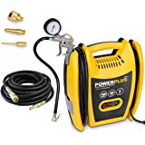 Powerplus 1.5HP, 6.33CFM, 230v, MWP 116psi, 8BAR Oil Free Air Compressor POWX1705 with Kit: Tyre Inflator, 3M Hose + Adaptors Ideal for Car / Bike, Airbed, Lilo, Football - 3 Year Home User Warranty - PLUS 10 Meter Heavy Duty Rubber Hose