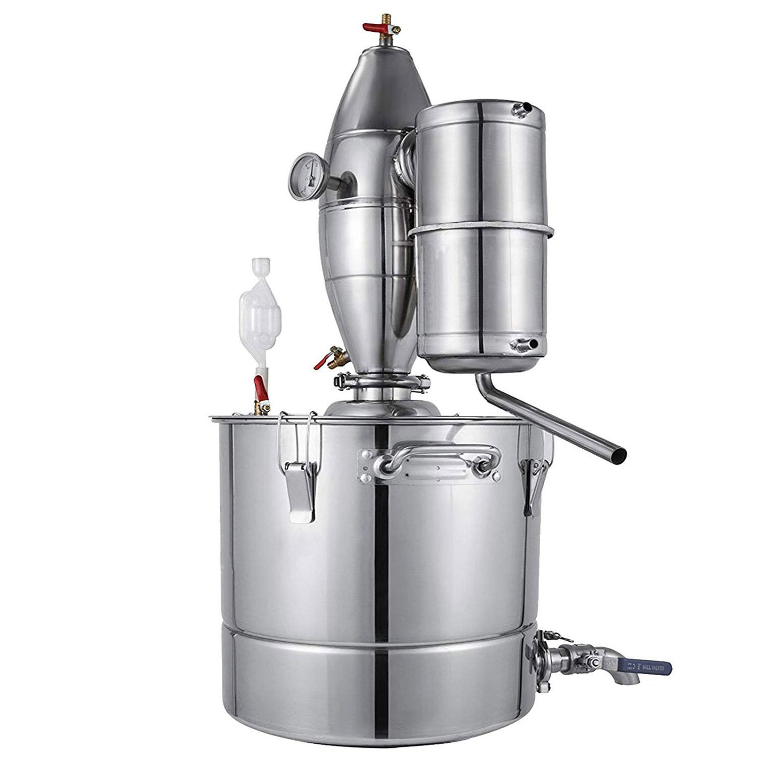 YaeBrew 30L 7.9Gal Water Alcohol Distiller 304 Stainless Steel Alcohol Distiller Home Brew Kit Moonshine Wine Making Boiler with Thermometer Home Brewing Kit