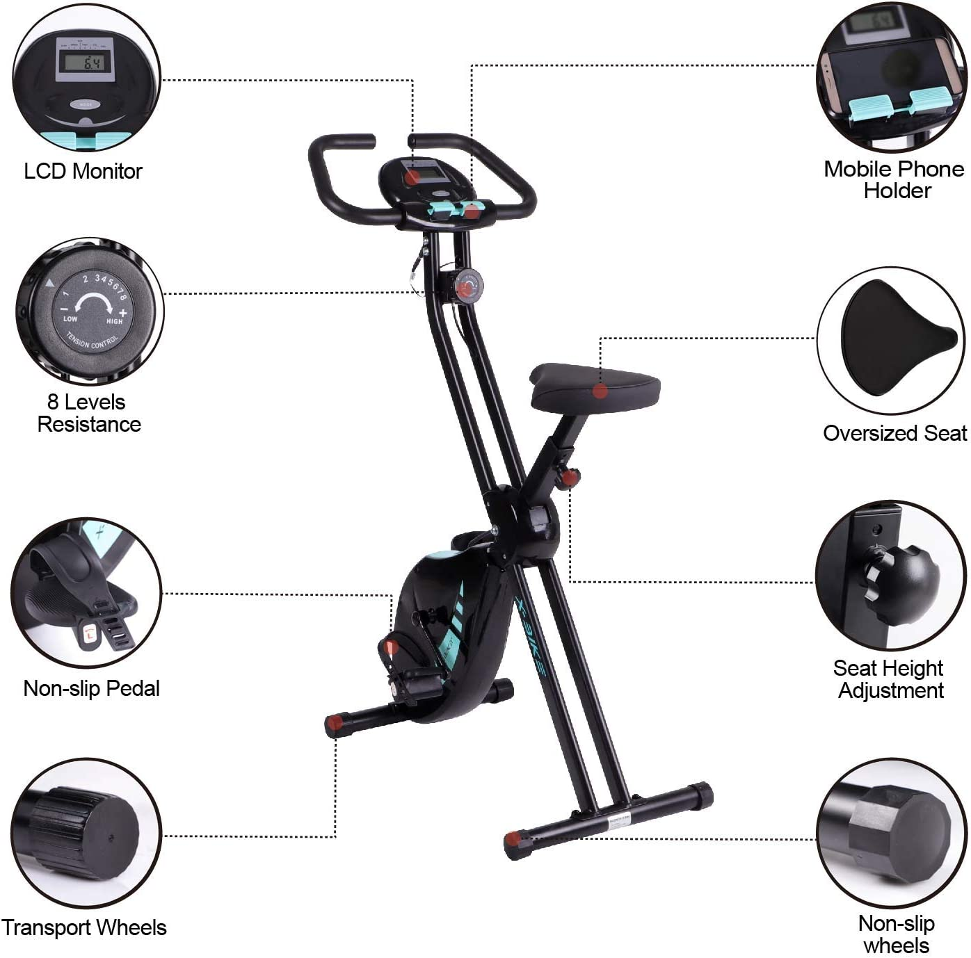 Bicicleta estática para Uso doméstico, Bicicleta de Ejercicios ...