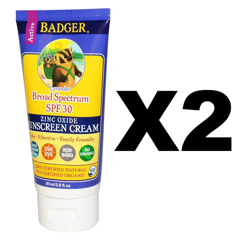 Badger Balm Lavender Sunscreen Cream- SPF 30-2.9 oz (2 Pack)