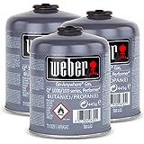 3x Weber Gas Kartusche für Q 100 Serie und Performer Touch-N-Go