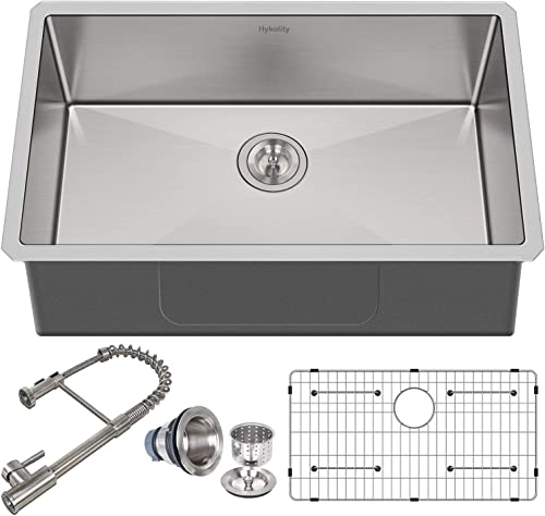 Hykolity Kitchen Sink with Faucet, 30 Inch Stailess Steel Undermount Single Bowl, 16 Gauge, with Strainer Bottom Grid