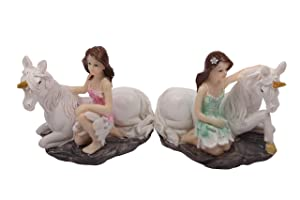 JUNIQUTE 2 Sets Unicorn Fairy Garden Statues,Fairy Sister Figurines, Sculpture Angel Fairy Girl Lady Best for Decoration Home and in Garden, for Birthday, Monther's Day,Thanksgiving Day, C