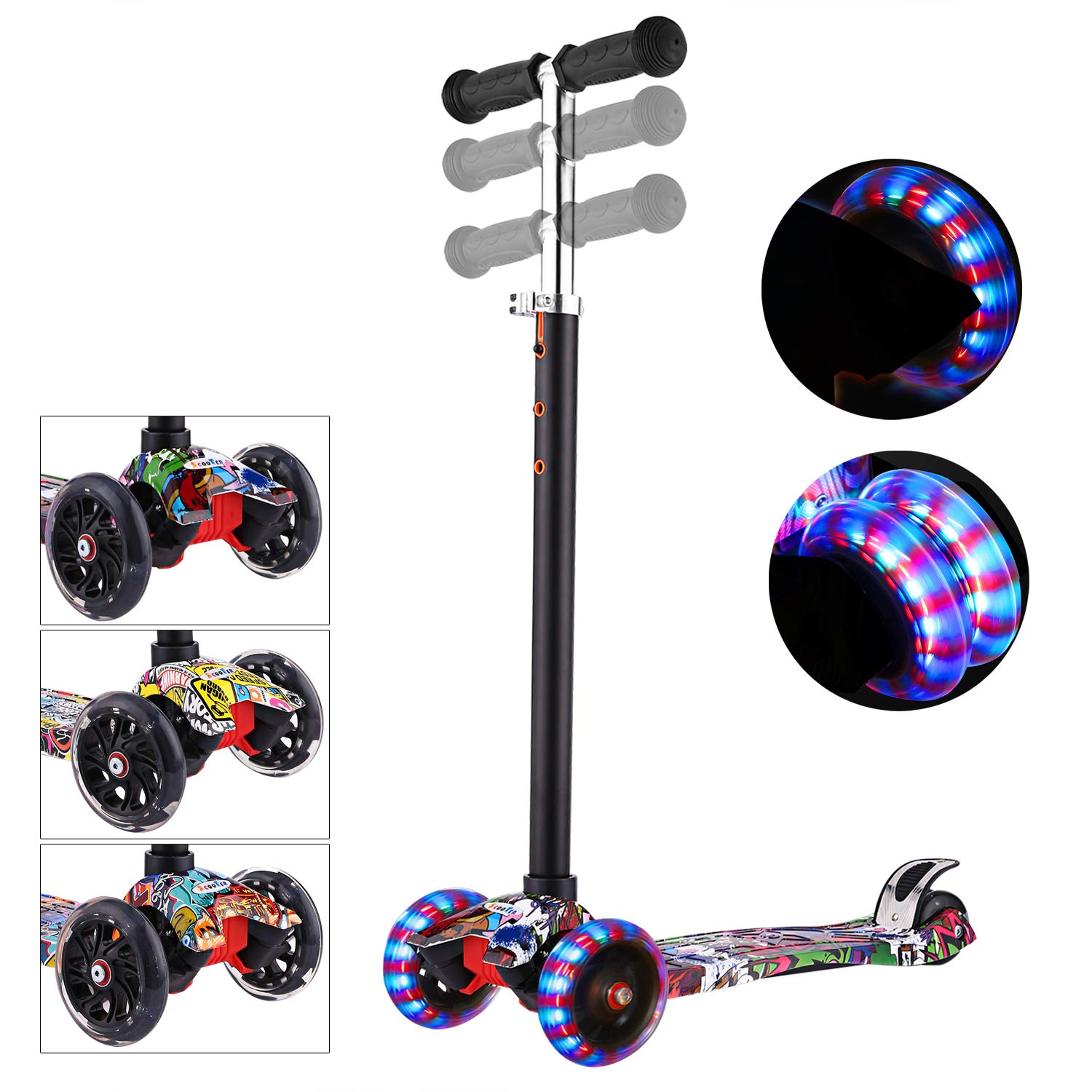 WeSkate Scooters for Kids 3 Wheel Kid Scooter Kid Kick Scooter with Adjustable Height 3 Light Up Flashing Wheel for Boys Girls,Quick Disassembly with One Button