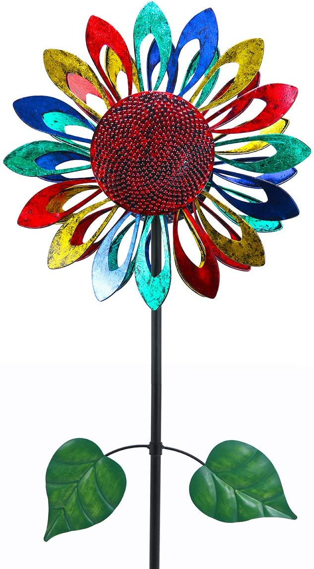 hourflik Kinetic Sunflower Wind Spinners with Stake Metal Garden Spinner with Reflective Painting Unique Lawn Ornament Wind Mill for Outdoor Yard Lawn Garden Decorations (Colorful)