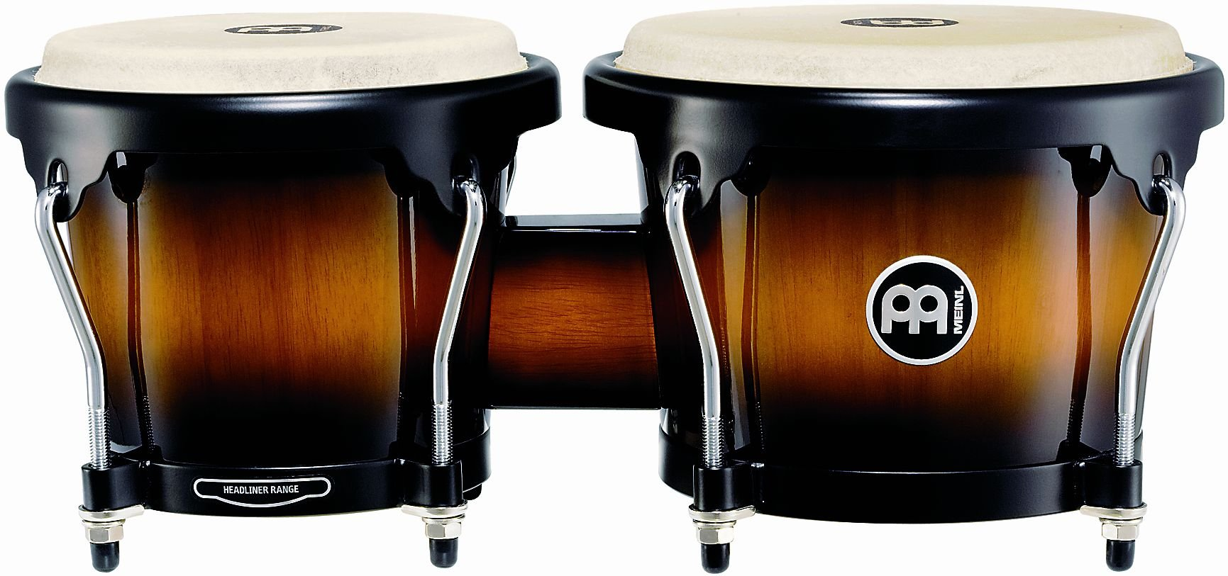 Meinl Percussion Bongos With Hardwood Shells - NOT MADE IN CHINA - Vintage Sun burst Finish, Buffalo Skin Heads, 2-YEAR WARRANTY HB100VSB