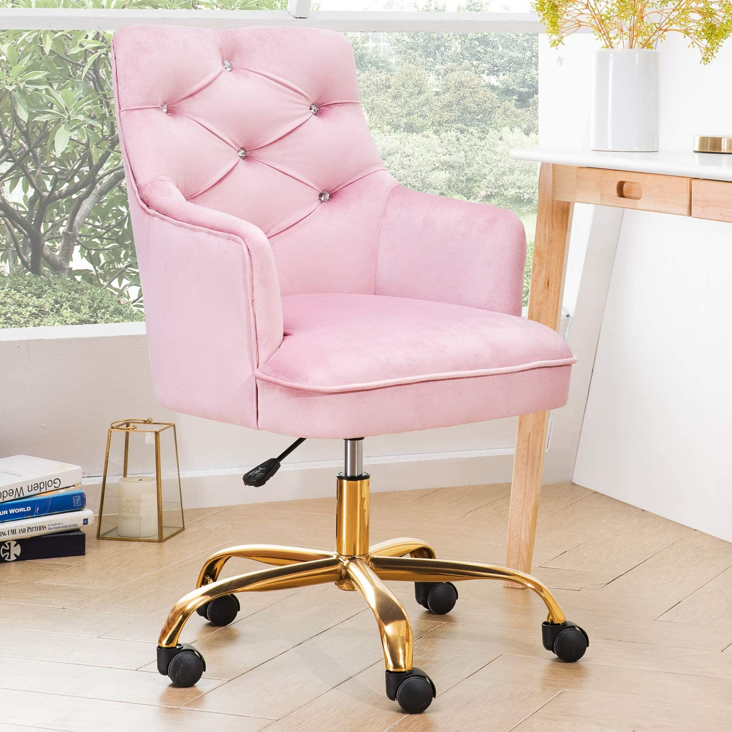 OVIOS Cute Desk Chair,Plush Velvet Office Chair for Girl or Lady,Modern,Comfortble,Nice Vanity Chair and Task Chair with Gold Base. (Pink)