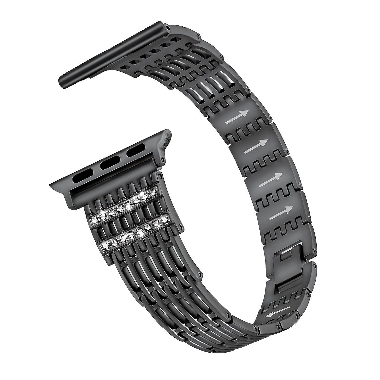 173552177a53 azeyou Blingバンドfor Apple Watchバンド38 mm 42 mmファッションラインストーンステンレススチール金属交換 用リストバンドスポーツストラップfor Apple Watch Nike + ...