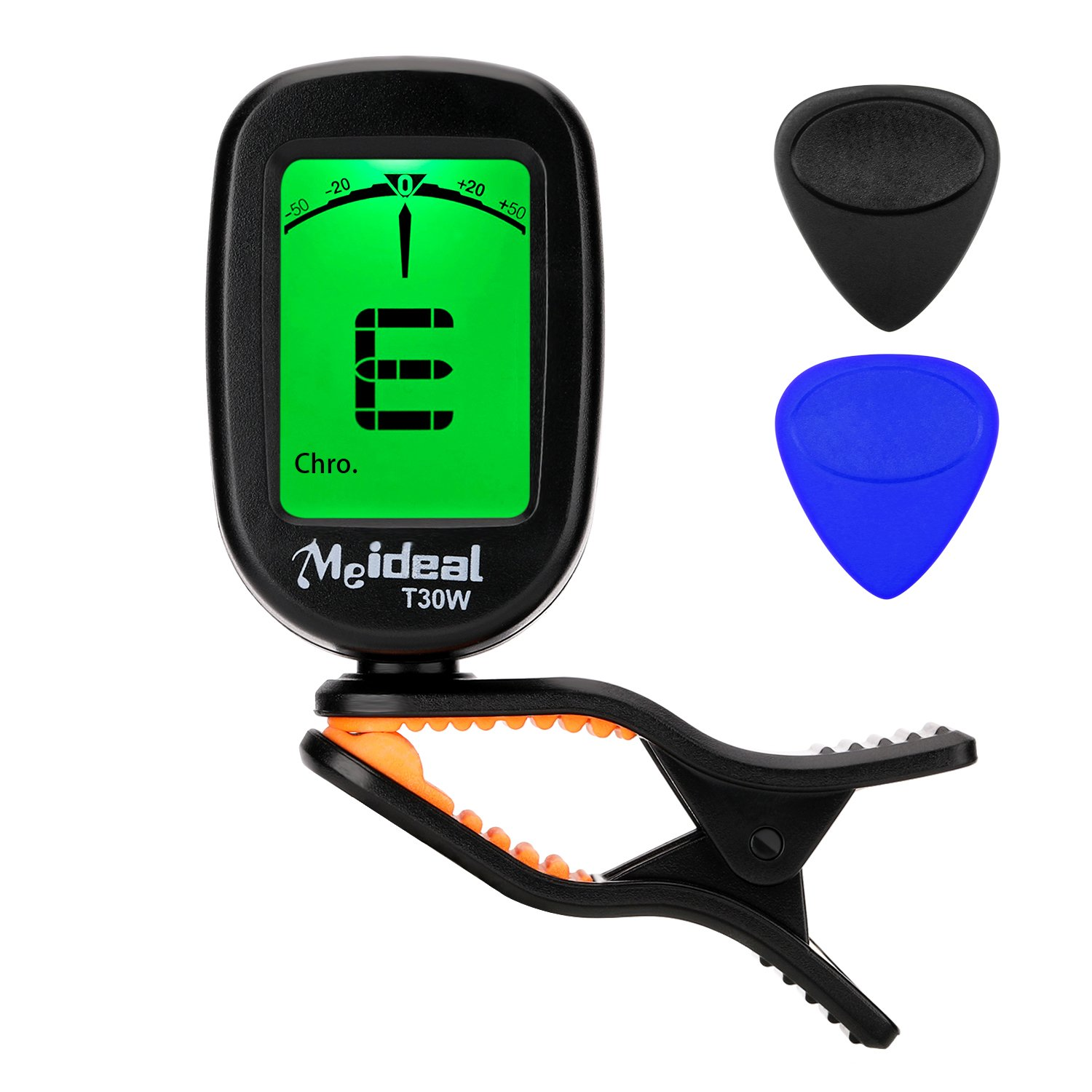 yueshion Clip-on Tuner 360°Rotating Sensitive Large Clear LCD Display Guitar Tuner Auto Power Off Including Battery Also Suitable for Bass Ukulele Banjo,with 2 Guitar Picks (black)